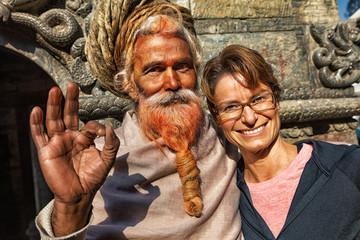 Sadhu and Tourist, Pashupatinath, Kathmandu, Nepal