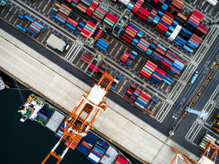 Container terminal and merchant ship