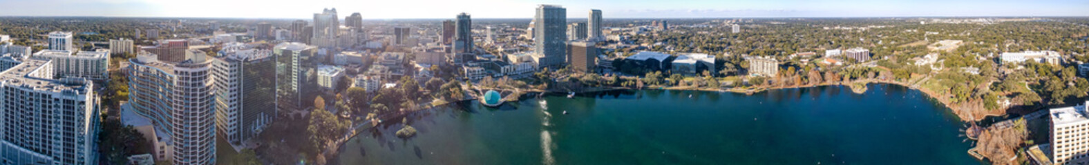 Fototapete - ORLANDO, FL - FEBRUARY 2016: Panoramic aerial view of city skyline at sunset. Orlando is a famous destination in Florida