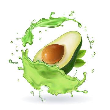 Fresh avocado fruit juice splash realistic isolated vector