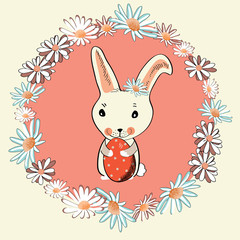 Cute Easter bunny with Easter egg in the middle of floral wreath. Vector illustration on light yellow background