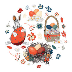 Beautiful Easter eggs in a basket and in the nest with easter bunny with various flowers in the shape of circle. Vector illustration on white background