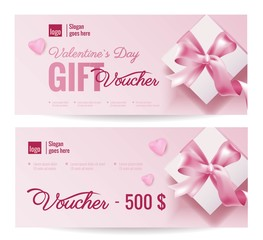 Gift Voucher Coupon discount for Happy Valentine's Day celebration with holiday symbols. Vector illustration
