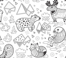 North animals, geometric iceberg and mountains vector pattern in outline