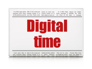 Timeline concept: newspaper headline Digital Time on White background, 3D rendering