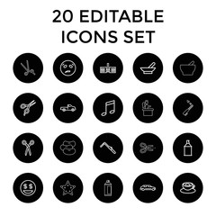 Clipart icons. set of 20 editable outline clipart icons