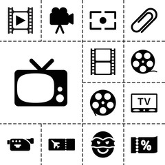 Movie icons. set of 13 editable filled movie icons