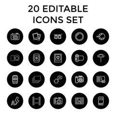 Photo icons. set of 20 editable outline photo icons
