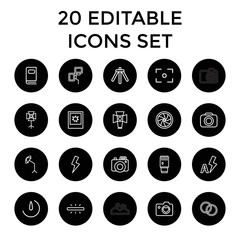 Photography icons. set of 20 editable outline photography icons