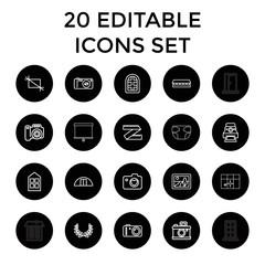 Frame icons. set of 20 editable outline frame icons