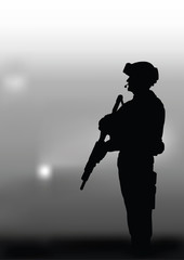 Armed soldier on a dark background.