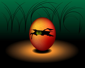 Egg Monster or Devil with green eye - Vector design