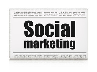 Marketing concept: newspaper headline Social Marketing on White background, 3D rendering