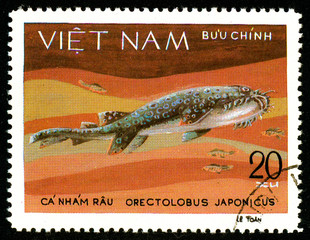 Ukraine - circa 2018: A postage stamp printed in Vietnam shows drawing Japanese Wobbegong or Orectolobus japonicus. Series: Shark and Dogfish. Circa 1980.