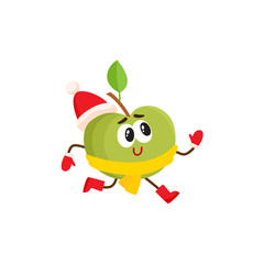 Funny green apple character in warm winter clothes - knitted hat, scarf and mittens, comic, cartoon vector illustration isolated on white background. Funny green apple character in winter clothes