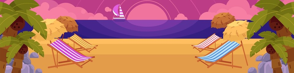 Sun chairs, palms and rocks on beach with yacht and sunset of background, summer vacation horizontal banner, flat cartoon vector illustration. Beach scene with sunset, sea, yacht and lounge chairs