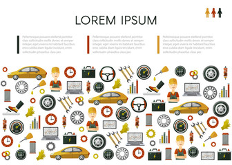 vector flat poster with car service symbols pattern. Man professional mechanis, car parts repairing process, tools, equipment and laptop with growing performance graph illustration