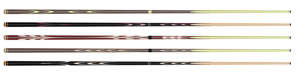 billiard cue sticks on white background. vector image