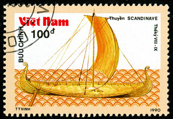 Ukraine - circa 2018: A postage stamp printed in Vietnam shows ship 8th-9th - Century Viking Longship. Series: Ancient boats. Circa 1990.