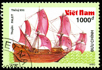 Ukraine - circa 2018: A postage stamp printed in Vietnam shows ship 17th - Century Frigate. Series: Ancient boats. Circa 1990.