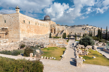 Viiew to Mount of Olives. Al-Aqsa Mosque on the Temple Mount in Jerusalem, Old City, Israel.