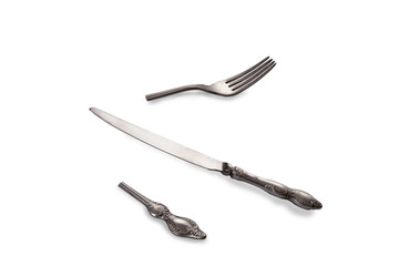 Retro silver knife cut fork isolated