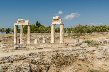 Sunny view of ruins of ancient Hierapolis near Pamukkale, Denizli province, Turkey.