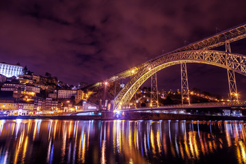 Dom Luis Bridge illuminated at night. Porto, Portugal western Europe