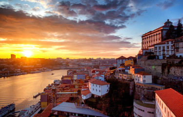 Porto, Portugal old city skyline from across the Douro River, beautiful urban landscape, a popular destination for travel to Europe