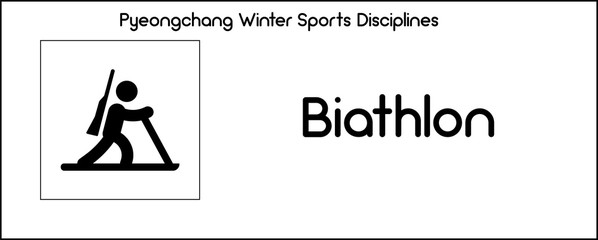 Icon depicting Biathlon discipline of winter sports games in Pyeongchang