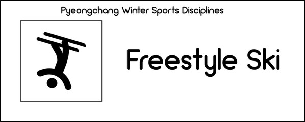 Icon depicting Freestyle Skiing discipline of winter sports games in Pyeongchang
