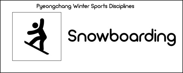Icon depicting Snowboarding discipline of winter sports games in Pyeongchang