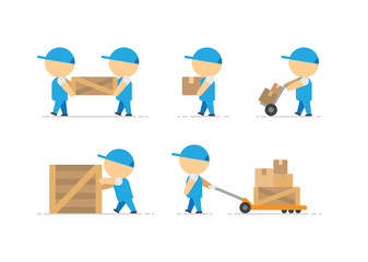 Man loader with wooden box in hands and container on freight trolley vector art