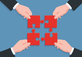 solution - puzzle - équipe - partenariat - entreprise - concept - ensemble - union -, succès - réussite