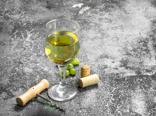 White wine from green fresh grapes.