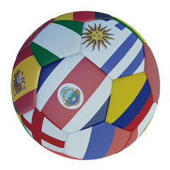 Isolated soccer ball with colors flags of states participating in the 2018 on a white background, 3d rendering.
