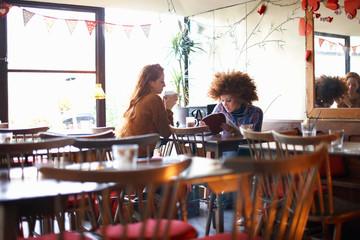 Friends relaxing in cafe