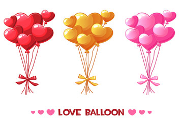 Vector Cartoon colored heart balloons, set Happy Valentines day