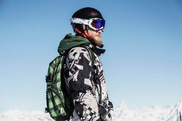 Portrait of skier, looking away