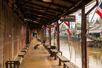 Quiet day at floating market of Amphawa, near Bangkok