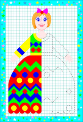 Educational page for children on a square paper. Need to draw the second part of dolls dress considering the symmetry. Vector image.