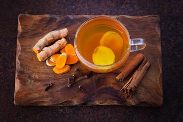 turmeric tea with cinnamon cloves and ginger