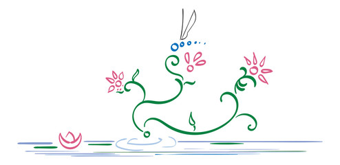 Abstract Spring Scene with flowers, water lilies and a dragonfly.