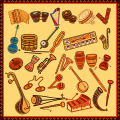 Set of Music instrument in India desi folk art style