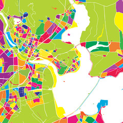Quanzhou, China, colorful vector map
