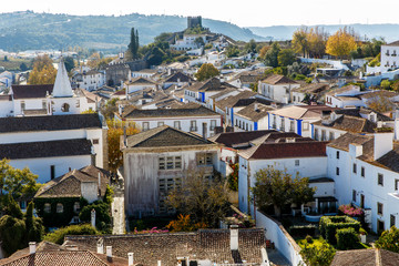 View from the City Wall of the Beautiful Village of Obidos, Portugal