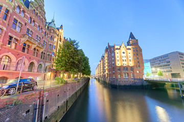 Beautiful streets in Hafencity district at sunset, Hamburg