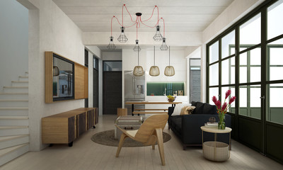 The modern loft living room and dining room interior design and concrete pattern wall background