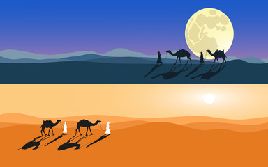 Men and camels do across desert. Moonlight and sunlight set. Cartoon hand made vector eps10 illustration.