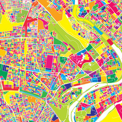 Baghdad, Iraq, colorful vector map